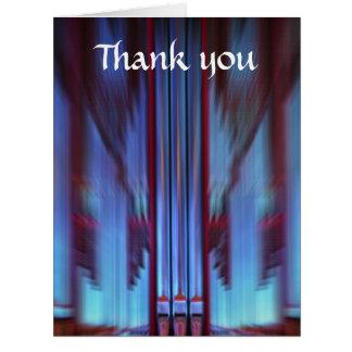 Los tubos de órgano azules grandes le agradecen tarjeta de felicitación grande