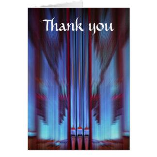 Los tubos de órgano azules le agradecen cardar tarjeta de felicitación