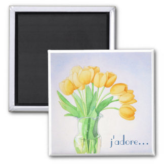 """Los tulipanes amarillos """"adoro"""" el imán"""
