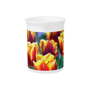 Los tulipanes coloreados llama del verano alegre jarras