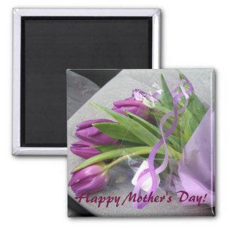 Los tulipanes de la mamá - personalizable imán cuadrado