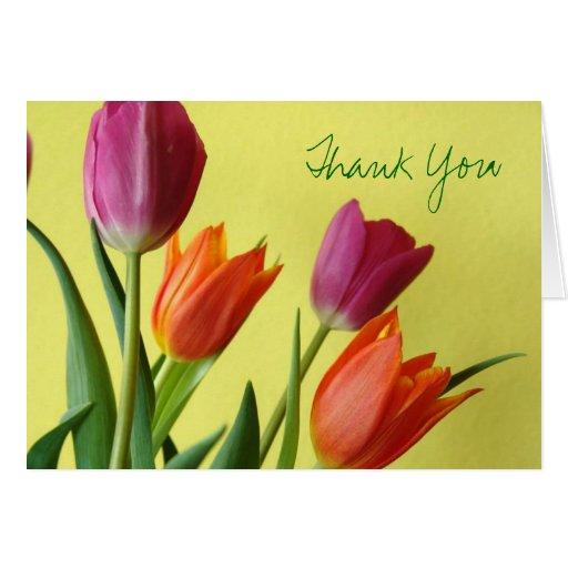 Los tulipanes le agradecen tarjeta de nota