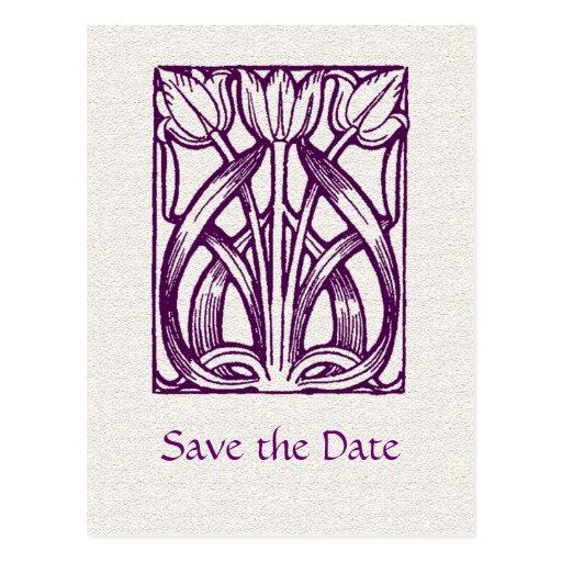 Los tulipanes púrpuras del art déco ahorran la pos postal