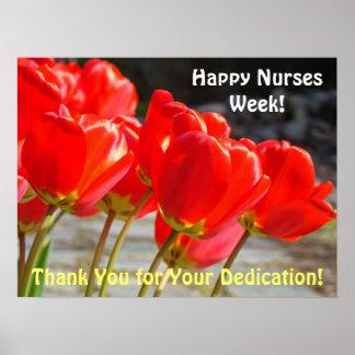 Los tulipanes rojos de las enfermeras de los póster