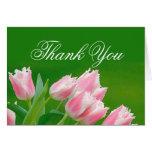 Los tulipanes rosados le agradecen cardar tarjeton