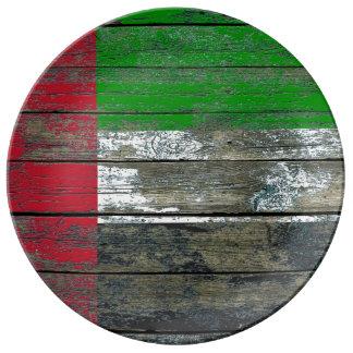 Los UAE señalan por medio de una bandera en efecto Plato De Cerámica