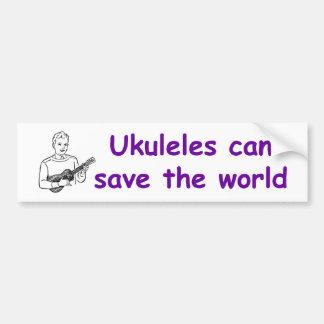 Los Ukuleles pueden ahorrar el mundo Etiqueta De Parachoque