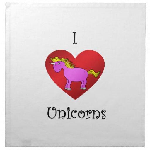 Los unicornios del corazón I en oro rosado oscuro  Servilletas