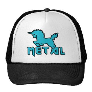 Los unicornios divertidos son metal gorro de camionero