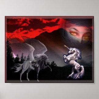 los unicornios duran el soporte póster