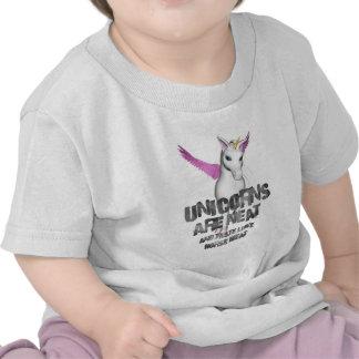 Los unicornios son aseados y gusto como el carne camisetas