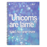 Los unicornios son hoja de metal dicha nadie libro de apuntes con espiral