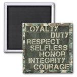 Los valores de un soldado imán de nevera