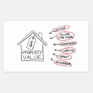 Los valores de una propiedad de los bienes raices pegatina
