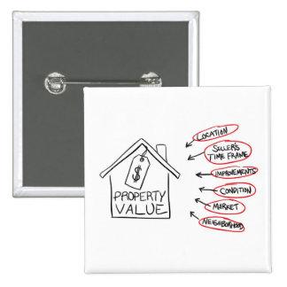 Los valores de una propiedad de los bienes raices  pin cuadrada 5 cm