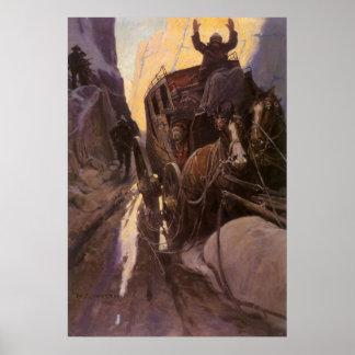 Los vaqueros del vintage, soportan en el barranco póster