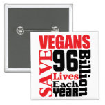 Los veganos ahorran el botón del vegano de las vid pins