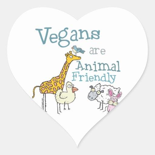 Los veganos son animal amistoso pegatina en forma de corazón
