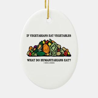 Los vegetarianos comen verduras qué hacen a adorno ovalado de cerámica