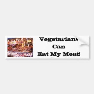 ¡Los vegetarianos pueden comer mi carne! (pegatina Pegatina Para Auto