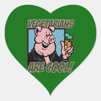 Los vegetarianos son frescos pegatina en forma de corazón