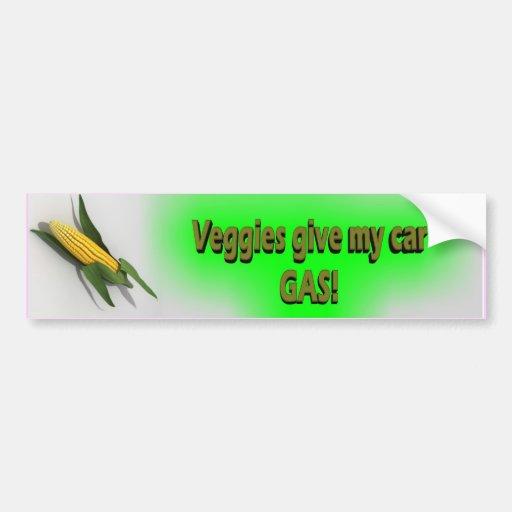 Los Veggies dan a mi pegatina del gas del coche Pegatina De Parachoque
