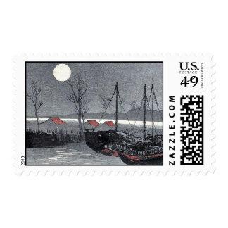 Los veleros amarraron debajo de la luna por sello