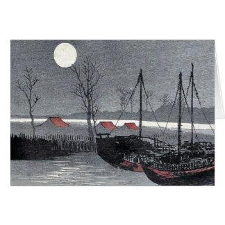 Los veleros amarraron debajo de la luna por Uehara Tarjeta
