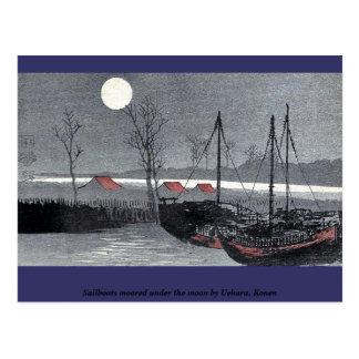Los veleros amarraron debajo de la luna por Uehara Tarjeta Postal