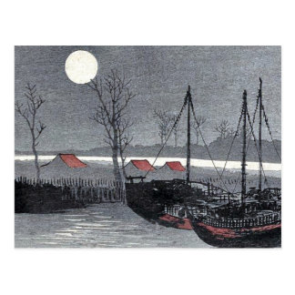 Los veleros amarraron debajo de la luna por Uehara Tarjetas Postales