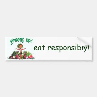 ¡los verdes para arriba, comen responsable! - pega pegatina para auto