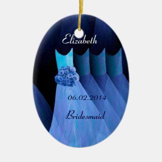 Los vestidos azules soñadores de la dama de honor ornaments para arbol de navidad