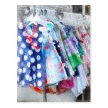 Los vestidos del chica en la calle justa postal