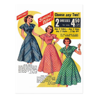 Los vestidos retros de la mujer del kitsch 50s del postal