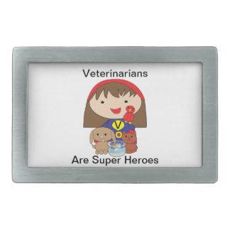 Los veterinarios son superhéroes hebilla de cinturón rectangular