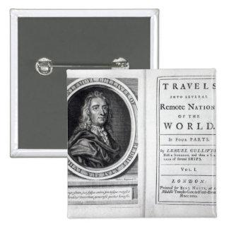 "Los ""viajes de Gulliver"" por Jonathan Swift, 1726 Pin Cuadrado"