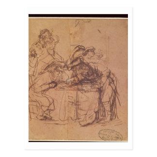 Los vicios del hijo despilfarrador (pluma y tinta  tarjeta postal