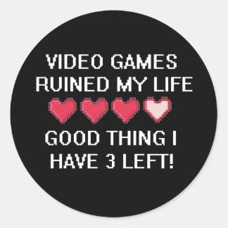 Los videojuegos arruinaron mi estilo de vida 1 pegatina redonda