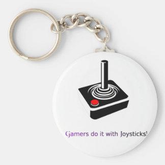 ¡Los videojugadores lo hacen con las palancas de m Llavero Redondo Tipo Pin