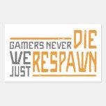 Los videojugadores nunca mueren - el estilo 1 rectangular pegatinas