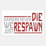 Los videojugadores nunca mueren - el estilo 2 rectangular pegatinas
