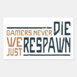 Los videojugadores nunca mueren - el estilo 3 rectangular pegatinas