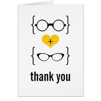 Los vidrios Geeky amarillos le agradecen cardar Tarjeta Pequeña