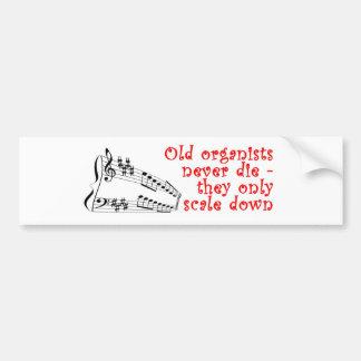 Los viejos organistas nunca mueren pegatina para e pegatina para auto