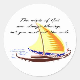 Los vientos de dios están soplando siempre pegatina redonda