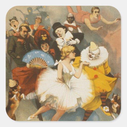 Los vodeviles de Sandow Trocadero, poster 1894 Calcomanías Cuadradases