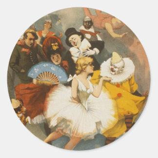 Los vodeviles de Sandow Trocadero, poster 1894 Pegatina Redonda