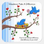Los voluntarios diferencian calcomanía cuadrada