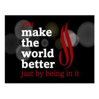 Los voluntarios hacen el mundo mejor estando en él tarjeta postal