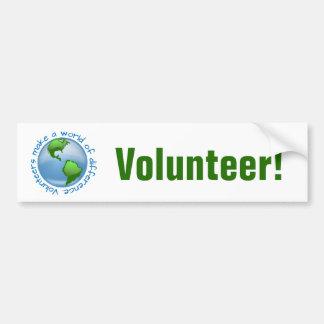 Los voluntarios hacen un mundo de diferencia pegatina para auto